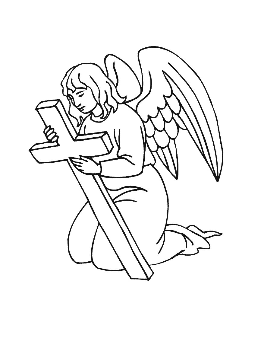 Baby angel coloring pages for Angel coloring pages