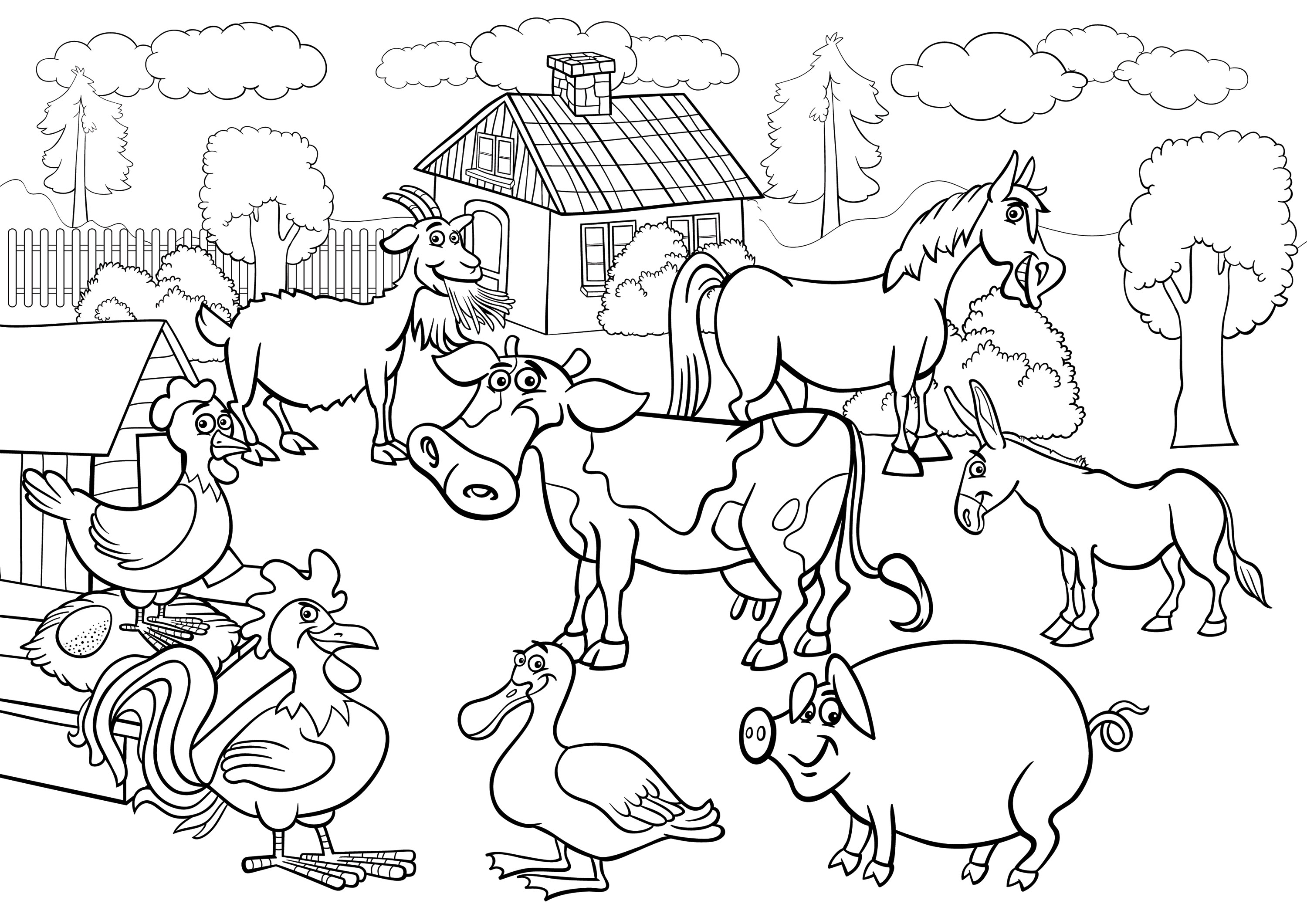 Farm scene coloring pages coloring coloring pages for Farm animal coloring pages