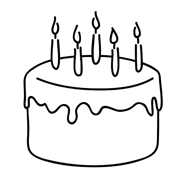 blank birthday cake coloring page