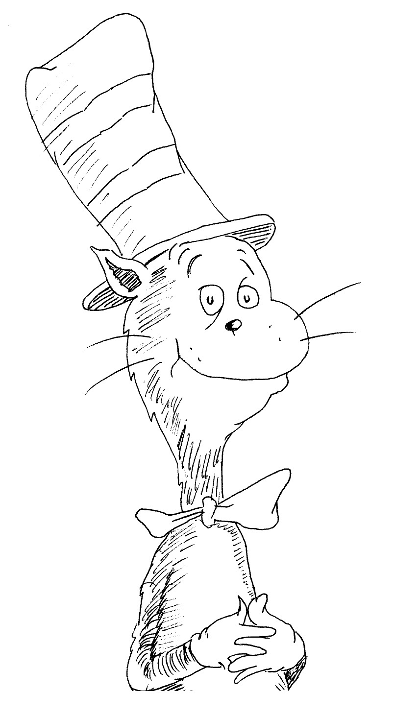 Uncategorized Cat And The Hat Coloring Pages printable cat in the hat coloring pages me sheets