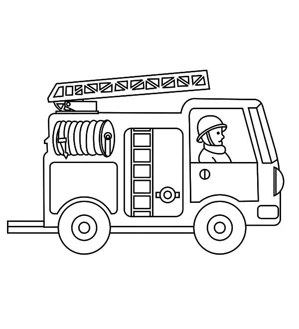 Fire Truck Simple Coloring Pages