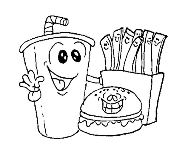 healthy fast food coloring pages - photo#6