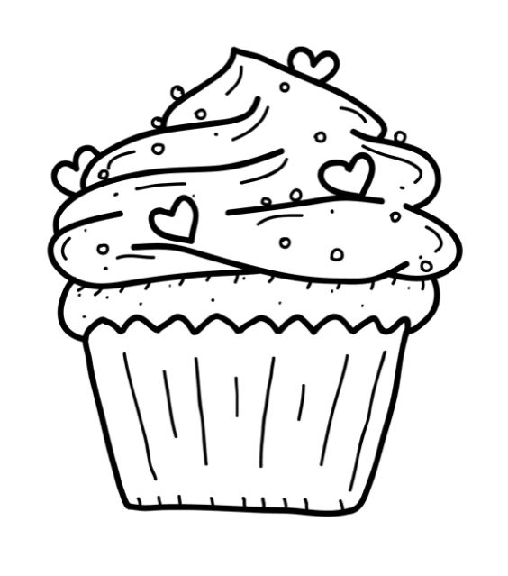 happy birthday cupcake coloring pages - photo#28