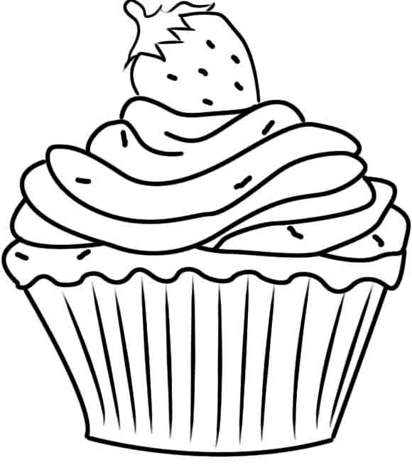 Coloring book pages of cupcakes coloring pages for Cupcake coloring pages printable
