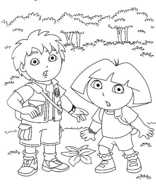 Dora And Diego Coloring Page