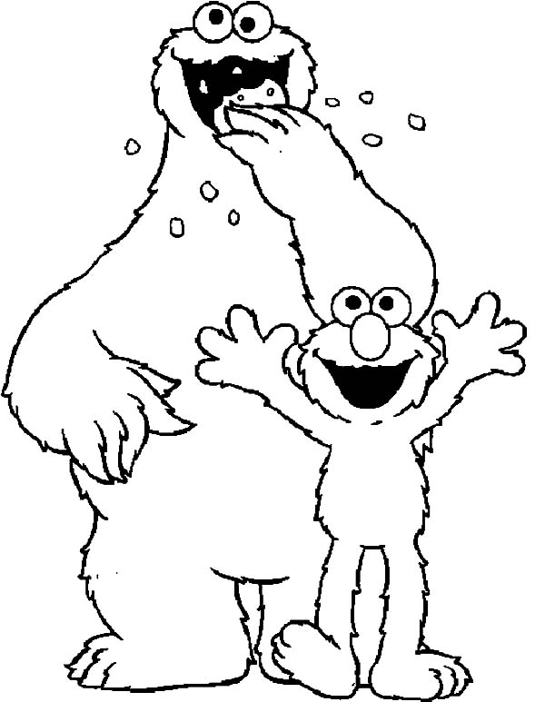 Elmo And Cookie Monster Coloring Pages To Print