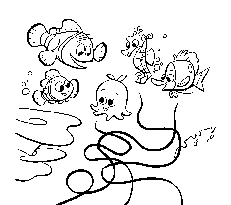 finding nemo coloring pages free - Finding Nemo Characters Coloring Pages