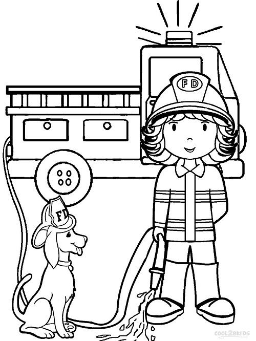 Printable Fireman Coloring Pages | Coloring Me