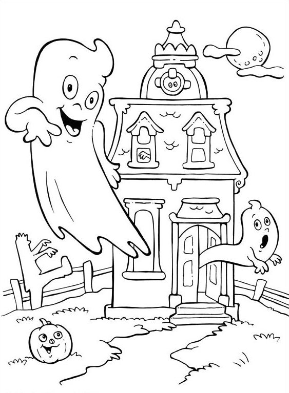 Free Halloween Haunted House Coloring Pages