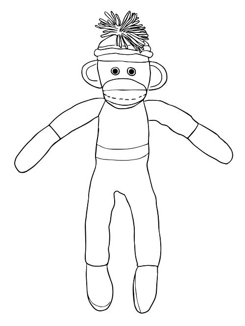 Printable Sock Monkey Coloring Pages | ColoringMe.com