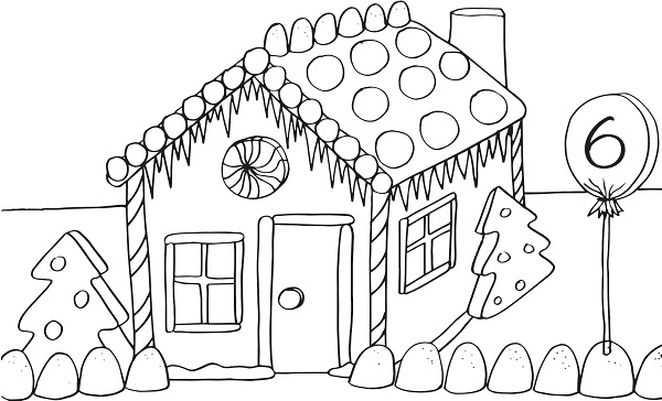 Gingerbread candy house coloring pages coloring pages for Gingerbread house coloring pages