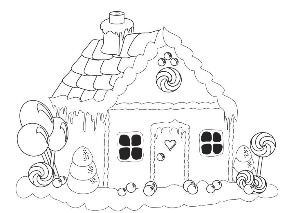 Gingerbread candy house coloring pages coloring pages for Candy house coloring pages