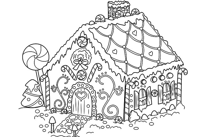 gingerbread house candy coloring pages - photo#1
