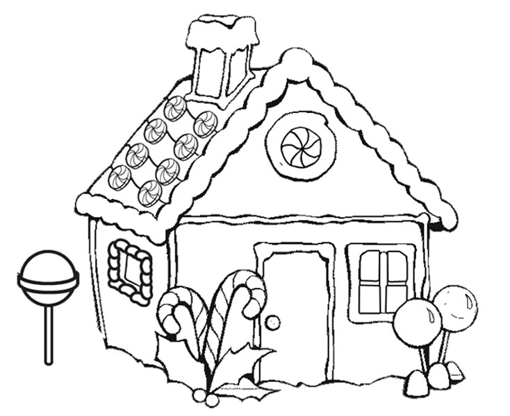 Gingerbread House Coloring Sheets Blank Pages