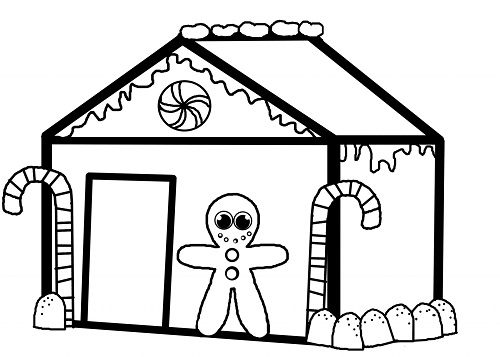 gingerbread man house coloring pages