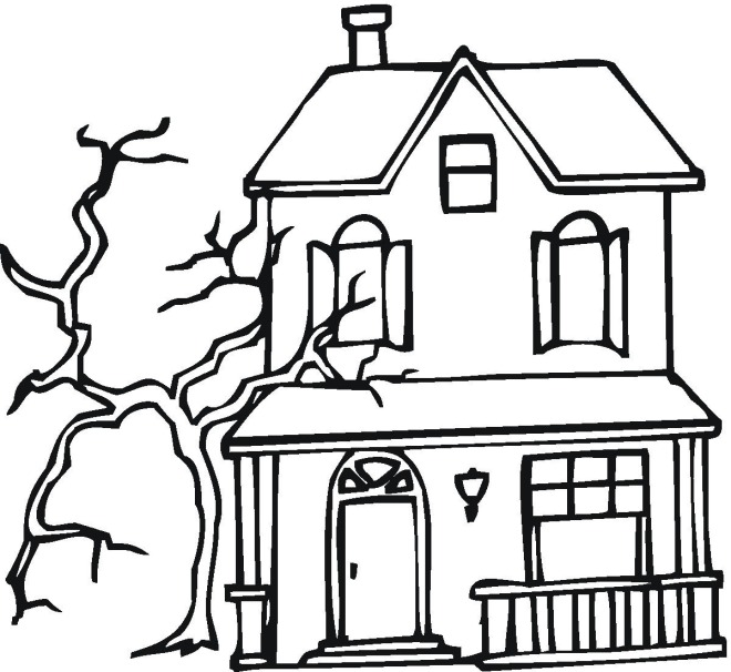 Printable Haunted House Coloring Pages Coloring Me