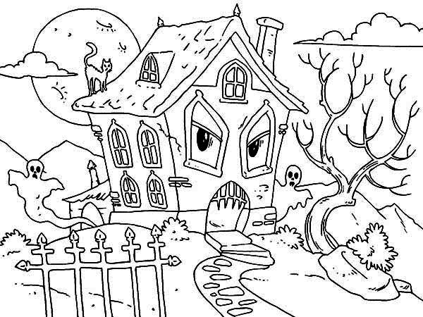 Haunted House Coloring Pages Amusing Printable Haunted House Coloring Pages  Coloring Me 2017