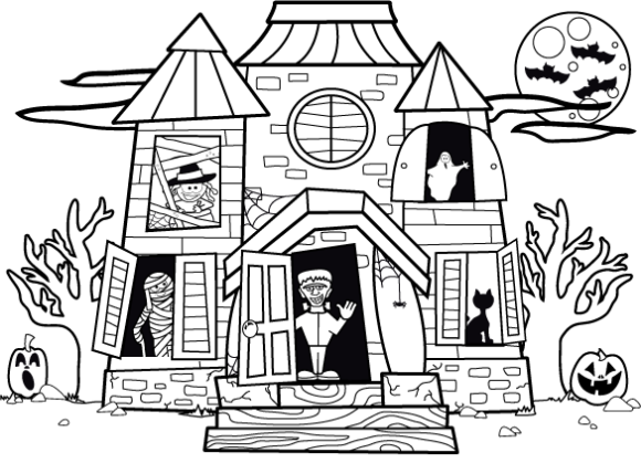 Printable Haunted House Coloring Pages Coloringmerhcoloringme: Ghost House Coloring Pages At Baymontmadison.com
