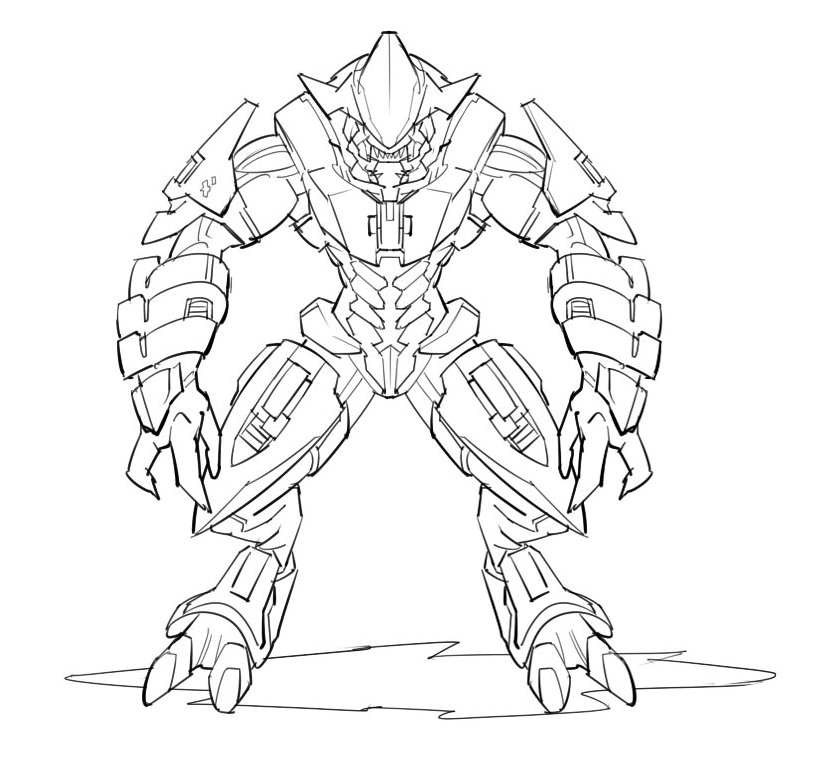 Halo Elite Coloring Pages Coloring Pages