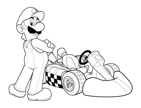 Luigi Mario Kart Coloring Pages Coloringme Com