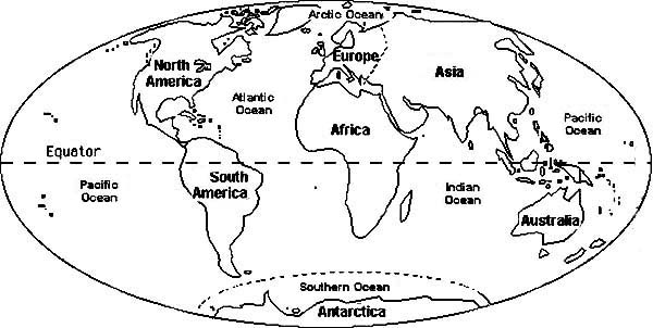 Coloring Pages Of The Continents And Oceans Coloring Page - World map continents and oceans black and white