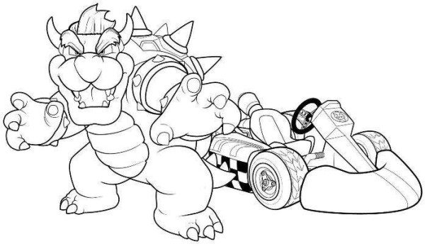 Mario kart coloring pages peach