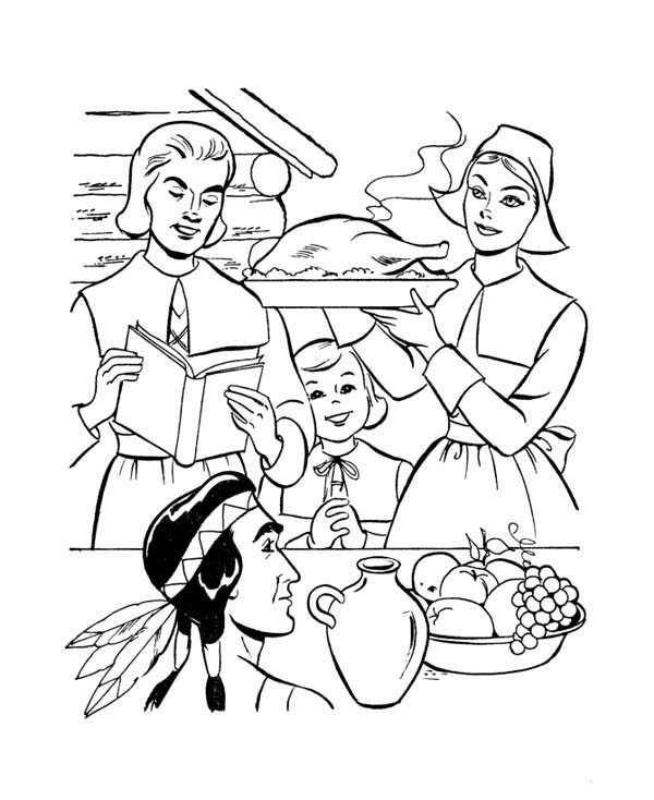 Pilgrim Coloring Pages - GetColoringPages.com | 734x600