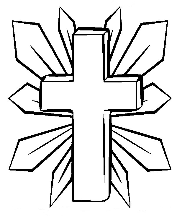 Printable Coloring Page Of A Cross In The Sunset