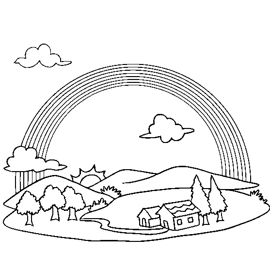 rainbow templates to colour - rainbow bridge page coloring pages