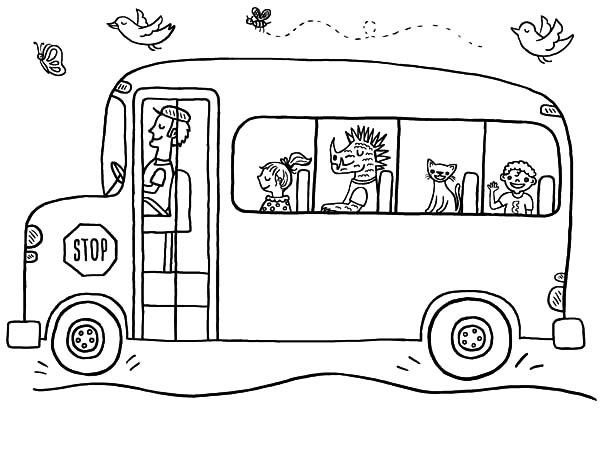 Awesome School Bus Safety Coloring Pages With Page And