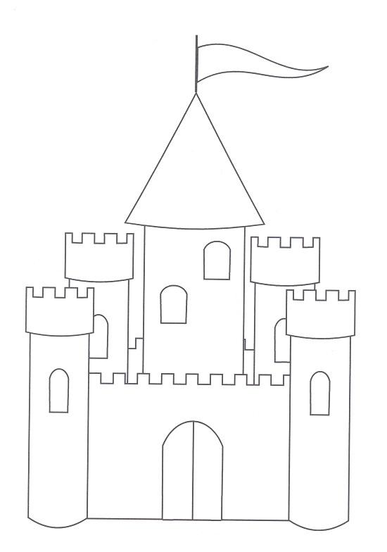 Simple castle coloring pages