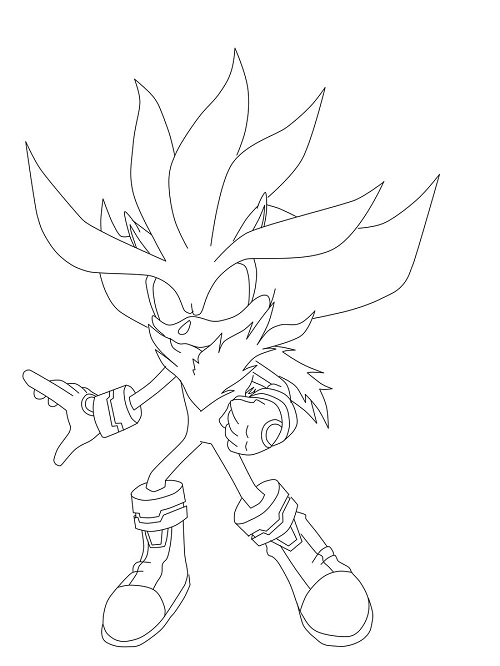 sonic the hedgehog coloring pages silver