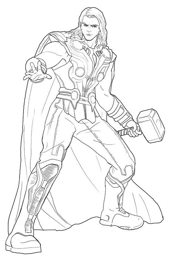 Avengers Coloring Pages Thor : Avengers symbol coloring pages sketch page
