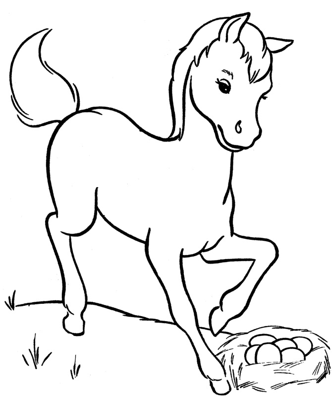 Baby horse coloring pictures murderthestout for Horseshoe coloring page