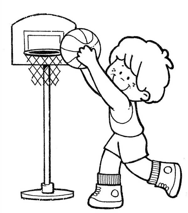 kid playing basketball coloring pages - photo#29