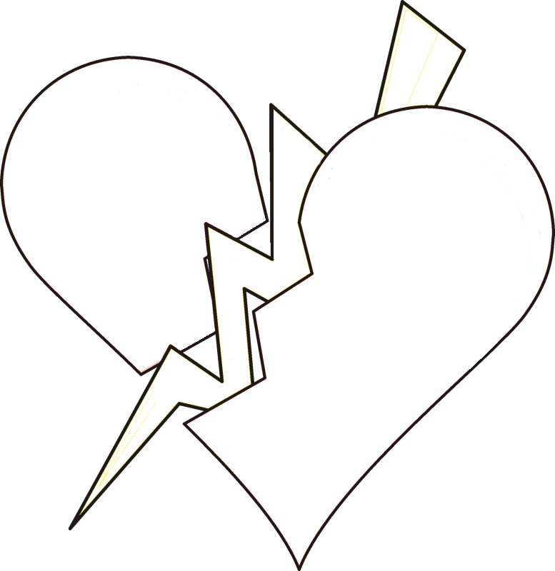 printable heart coloring pages coloring me Broken Hearts Coloring Pages for Teens  Broken Heart Coloring Pictures