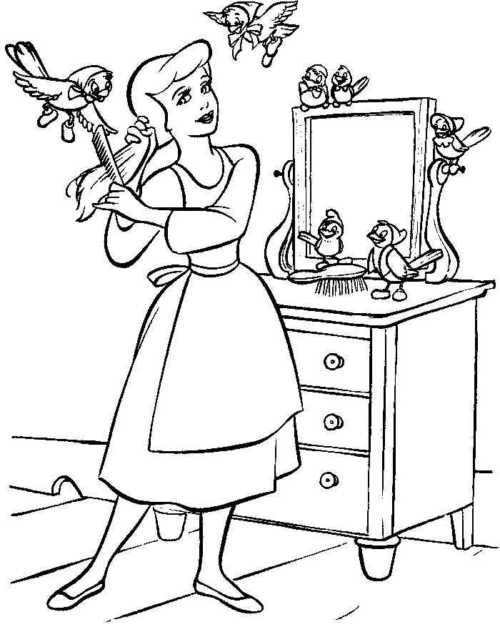 Cinderella Free Coloring Pages