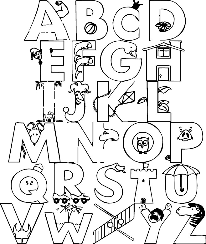 printable alphabet coloring pages | coloring me - Alphabet Printable Coloring Pages