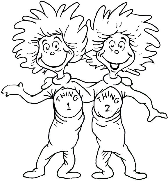 dr seuss color pages - one fish two fish dr seuss characters coloring pages
