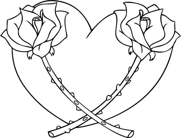 heart with rose coloring pages - Hearts Coloring Pages