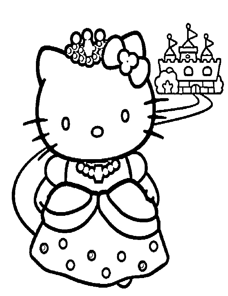 Search results for hello kitty coloring sheets for Hello kitty princess coloring page
