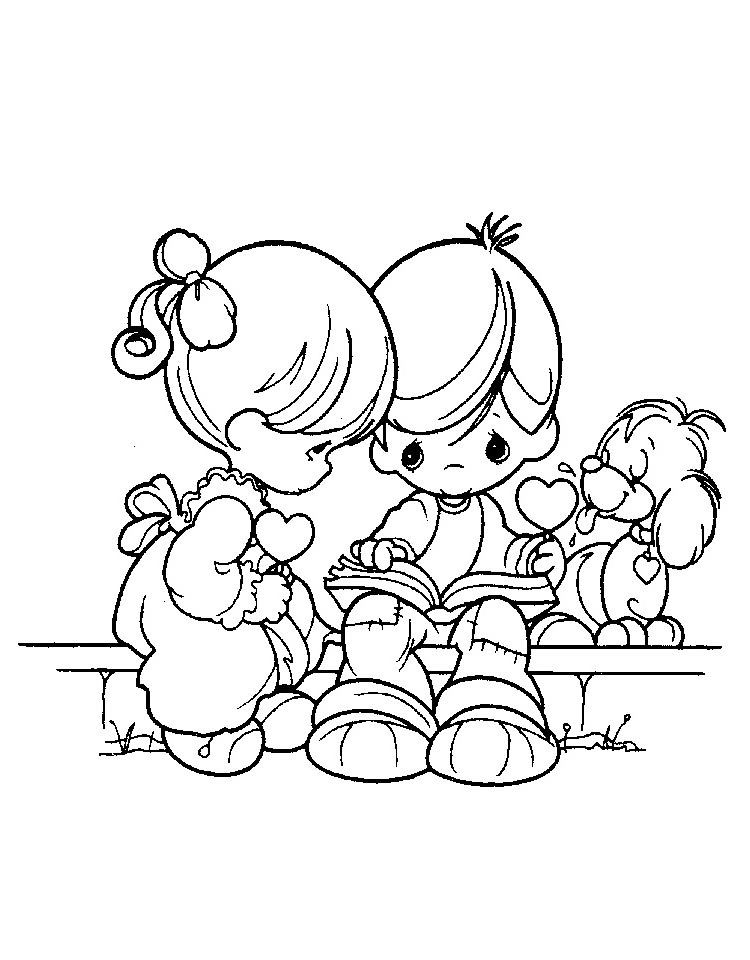 Precious Moments Coloring Page - precious moments boy with teddy ... | 960x750