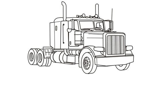 semi coloring trucks pages - photo#27